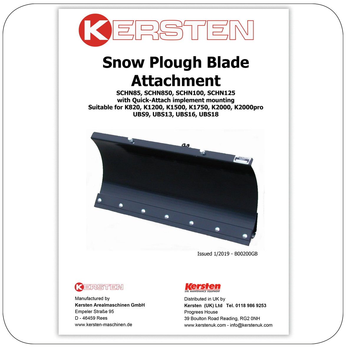 Instruction Manual - Spare Parts Lists SNOW PLOUGH - Attachments - B00200GB
