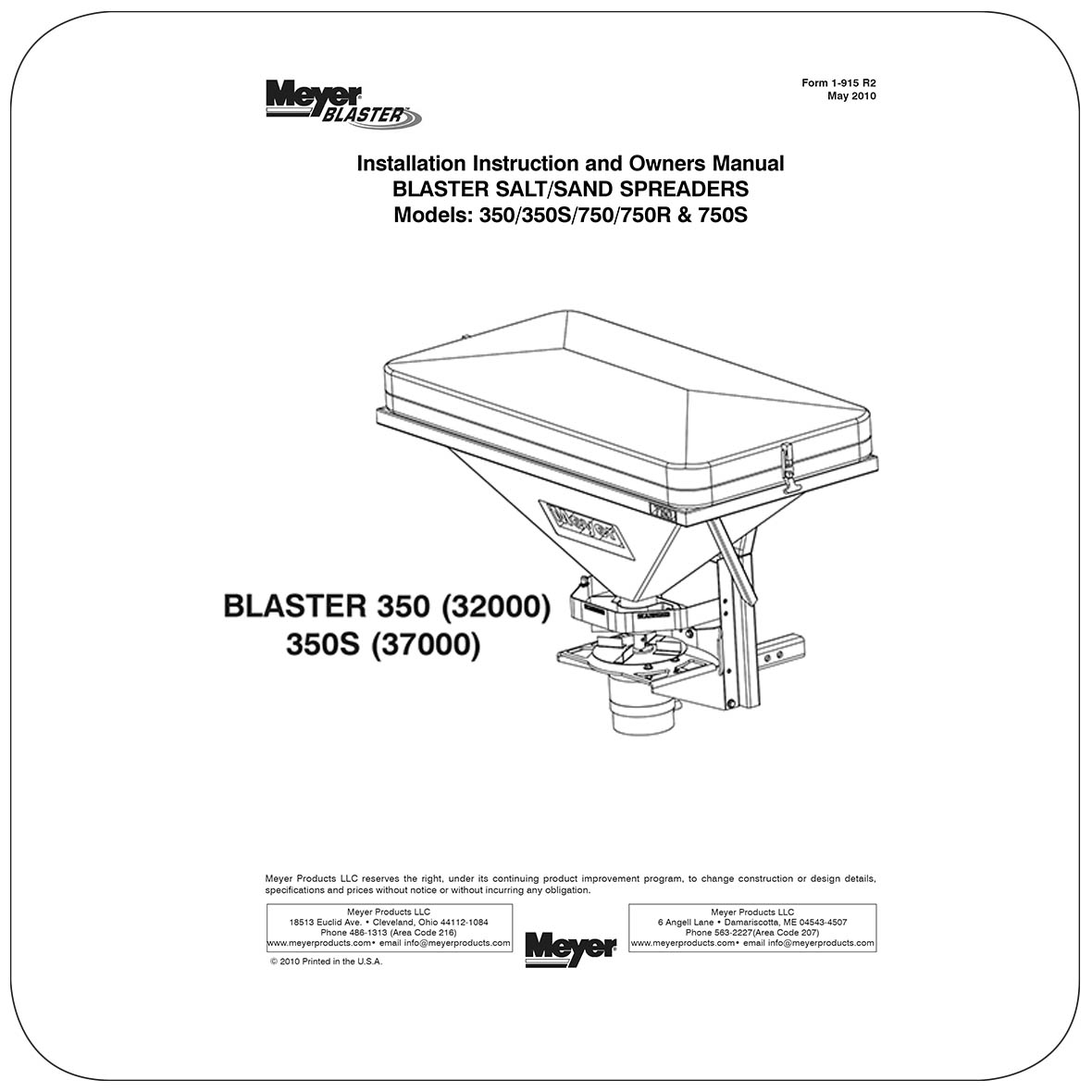 Owners Manual Blaster 350s Mounted Spreader