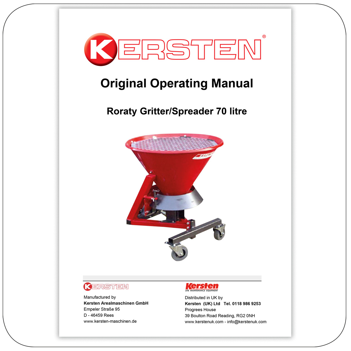 Instruction Manual - Kersten Gritter-Spreader - Attachments