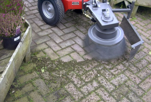 Cleaning block paving under garden centre plant display benches - Cover Image