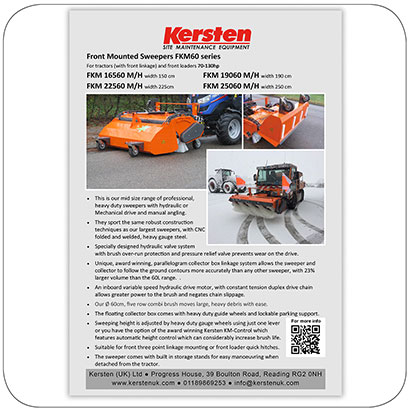 Information Sheet - Front Mounted Sweepers for Tractor and Loaders - FKM 60
