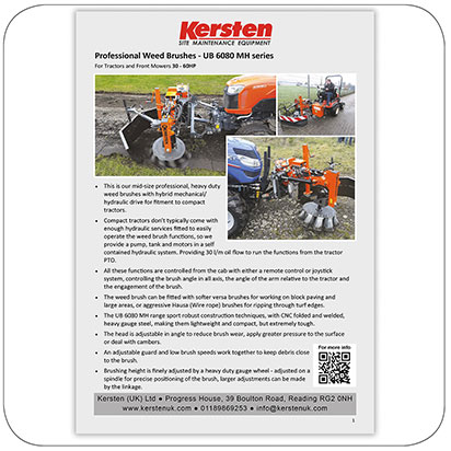 Information Sheet - Front Mounted WeedBrush for Tractor - UB 6080