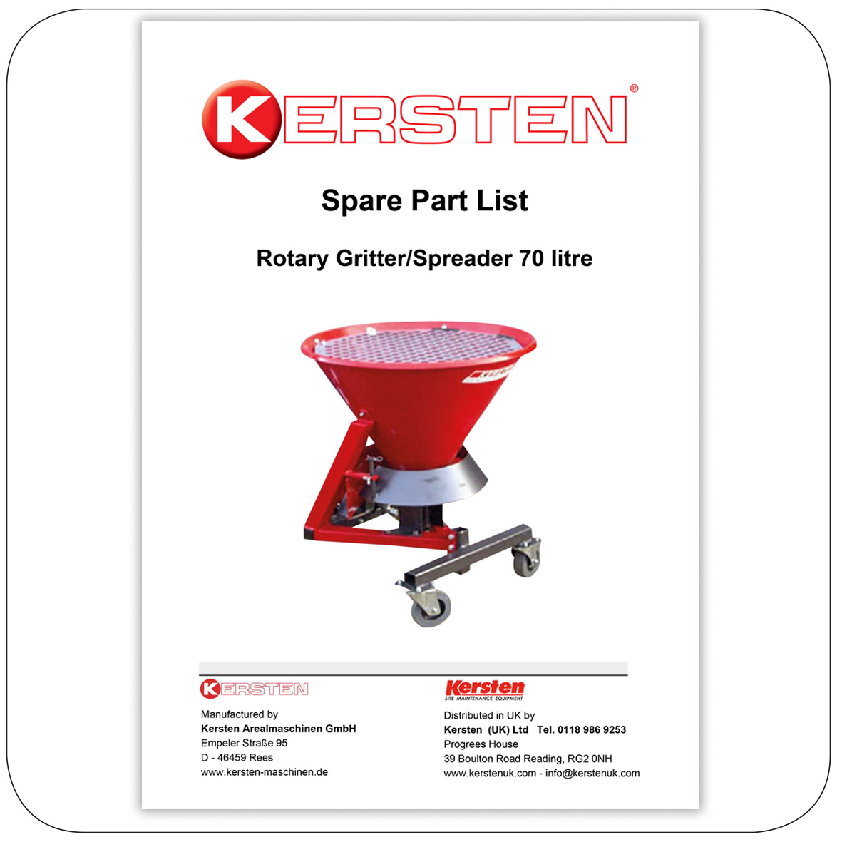 Spare Parts Lists Gritter - Spreaders - Attachments