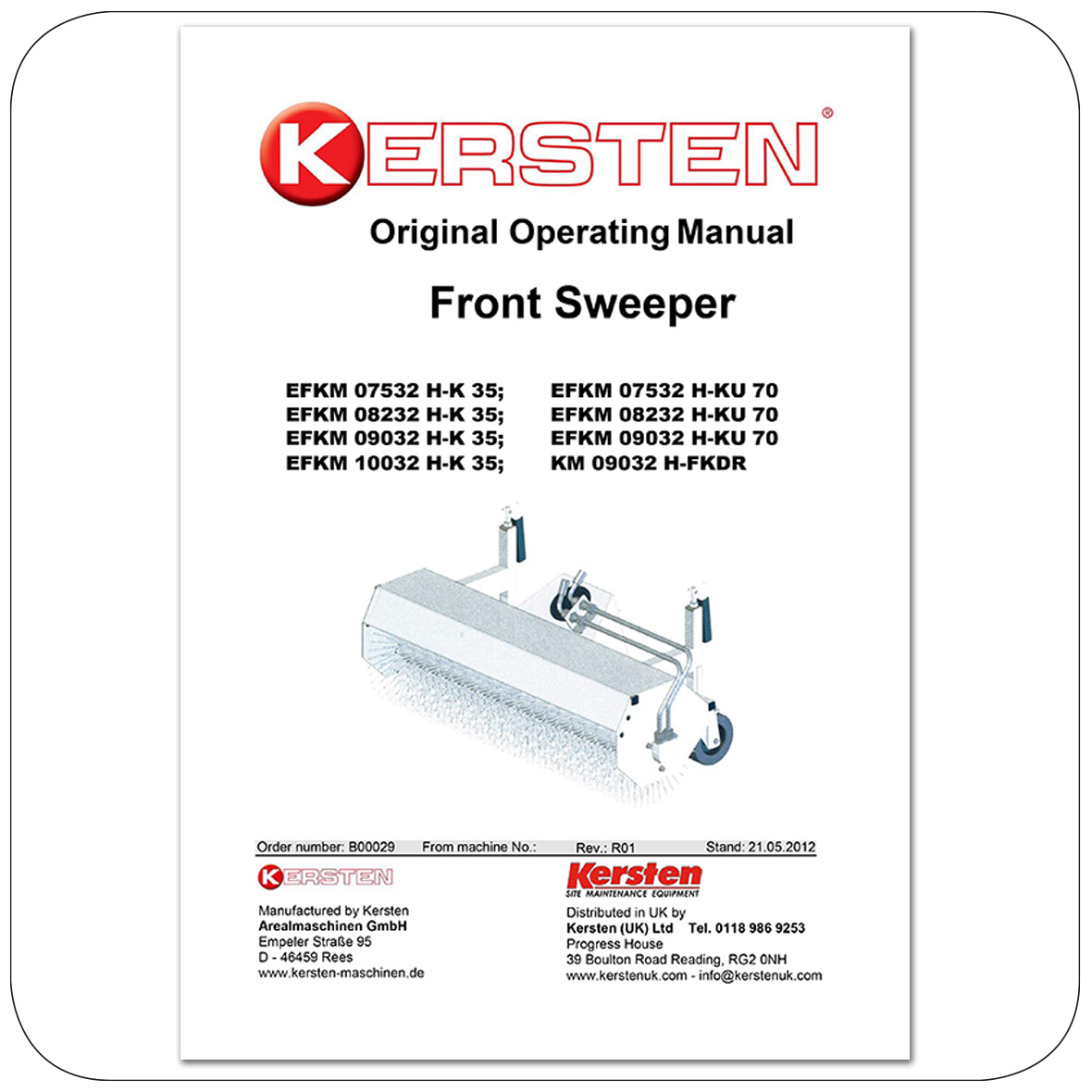Instruction Manual Front Sweeper EFKM 07532, EFKM 08232, EFKM 09032, EFKM 10032 - Attachments - B00029