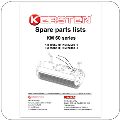 Spare parts lists Front Sweeper KM 60, KM 19060, KM 22560, KM 25060, KM27060